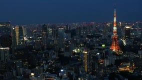 Horizonte de Tokio en la noche almacen de metraje de vídeo