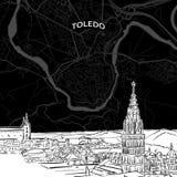 Horizonte de Toledo con el mapa ilustración del vector