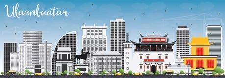 Horizonte de Ulaanbaatar con Gray Buildings y el cielo azul libre illustration