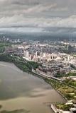 Horizonte de un helicóptero, Nueva York, los E.E.U.U. de Manhattan. Imagen de archivo libre de regalías