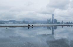 Horizonte de Victoria Harbour y de Kowloon de West Point, Hong Kong Imagen de archivo