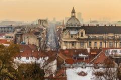 Horizonte de Zagreb Croatia, Europa foto de archivo libre de regalías