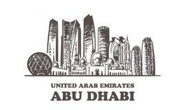 Horizonte del bosquejo de Abu Dhabi Ejemplo exhausto del vector de la mano de United Arab Emirates, Abu Dhabi libre illustration