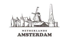 Horizonte del bosquejo de Amsterdam Ejemplo exhausto del vector de la mano de Países Bajos, Amsterdam stock de ilustración