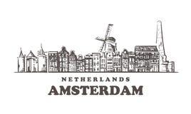 Horizonte del bosquejo de Amsterdam Ejemplo exhausto del vector de la mano de Pa?ses Bajos, Amsterdam ilustración del vector