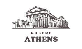 Horizonte del bosquejo de Atenas Ejemplo exhausto del vector de la mano de Grecia, Atenas ilustración del vector