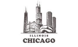 Horizonte del bosquejo de Chicago Ejemplo exhausto del vector de la mano de Illinois, Chicago ilustración del vector