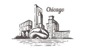 Horizonte del bosquejo de Chicago Ejemplo exhausto del vector de la mano de Illinois, Chicago stock de ilustración