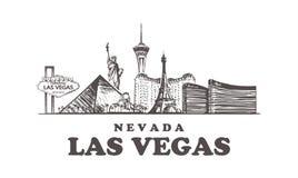 Horizonte del bosquejo de Las Vegas Ejemplo exhausto del vector de la mano de Nevada, Las Vegas libre illustration