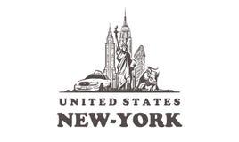 Horizonte del bosquejo de Nueva York Estados Unidos, ejemplo exhausto del vector de la mano ilustración del vector