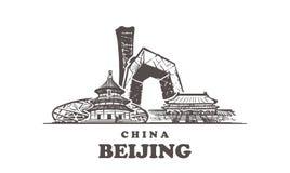 Horizonte del bosquejo de Pekín Ejemplo exhausto del vector de la mano de China, Pekín ilustración del vector