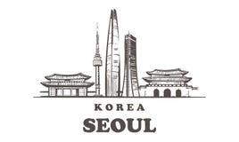 Horizonte del bosquejo de Seúl Corea, ejemplo exhausto del vector de la mano Aislado en el fondo blanco stock de ilustración