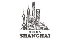 Horizonte del bosquejo de Shangai Ejemplo exhausto del vector de la mano de China, Shangai stock de ilustración