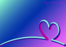 Horizonte del corazón, día feliz del ` s de la madre, 3D fluorescente Imagen de archivo libre de regalías