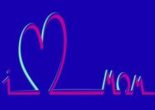 Horizonte del corazón, día feliz del ` s de la madre, 3D fluorescente Fotografía de archivo