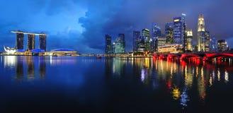 Horizonte del distrito financiero de Singapur Foto de archivo libre de regalías