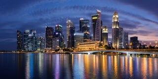 Horizonte del distrito financiero de Singapur Fotografía de archivo libre de regalías