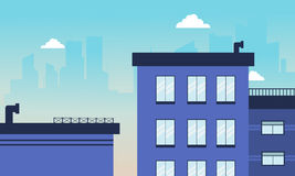 Horizonte del edificio de la ciudad del ejemplo del vector Foto de archivo libre de regalías