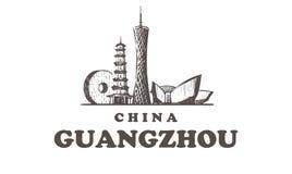 Horizonte del ejemplo a mano del vector del bosquejo de los elementos de los edificios de Guangzhou stock de ilustración