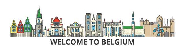 Horizonte del esquema de Bélgica, línea fina plana belga iconos, señales, ejemplos Paisaje urbano de Bélgica, ciudad belga del vi stock de ilustración