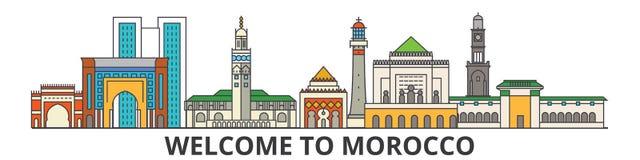 Horizonte del esquema de Marruecos, línea fina plana marroquí iconos, señales, ejemplos Paisaje urbano de Marruecos, viaje marroq Fotografía de archivo libre de regalías
