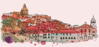 Horizonte del paisaje urbano de Lisboa Vector de la acuarela stock de ilustración