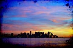 Horizonte del paisaje urbano de Nueva York en la noche, nyc, los E.E.U.U. Imágenes de archivo libres de regalías