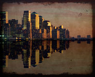 Horizonte del paisaje urbano de Nueva York en la noche, nyc, los E.E.U.U. Foto de archivo