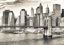 Horizonte del puente y de Nueva York Manhattan de Brooklyn Foto de archivo