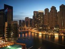 Horizonte del puerto deportivo de Dubai Imágenes de archivo libres de regalías