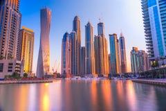 Horizonte del puerto deportivo de Dubai, UAE imagen de archivo