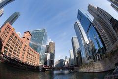 Horizonte del río Chicago Fotos de archivo libres de regalías