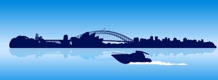 Horizonte detallado de la ciudad de Sydney con la lancha de carreras móvil ilustración del vector
