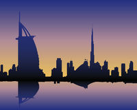 Horizonte Dubai en la puesta del sol stock de ilustración