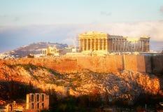 Horizonte famoso de Atenas, Grecia imagen de archivo libre de regalías