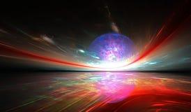 Horizonte fantástico de brilho ao outro planeta fotos de stock royalty free