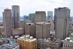 Horizonte financiero del distrito de Boston Foto de archivo libre de regalías