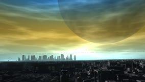 Horizonte futurista de la ciudad del planeta extranjero Fotos de archivo