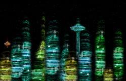 Horizonte futurista del nocturne de la ciudad Imagenes de archivo