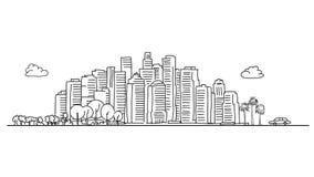 Horizonte genérico de la ciudad con los diversos árboles ilustración del vector