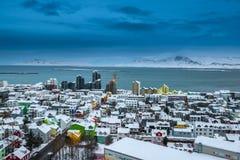 Horizonte hermoso de la ciudad de Reykjavik Fotografía de archivo libre de regalías