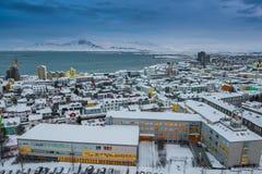 Horizonte hermoso de la ciudad de Reykjavik Imagen de archivo libre de regalías