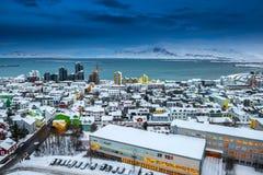 Horizonte hermoso de la ciudad de Reykjavik Fotos de archivo libres de regalías