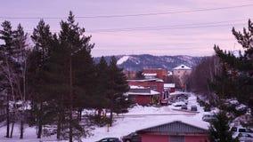 Horizonte hermoso Siberia, Rusia de la puesta del sol de 4K Timelapse almacen de metraje de vídeo