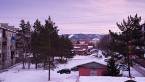 Horizonte hermoso Siberia, Rusia de la puesta del sol de 4K Timelapse metrajes