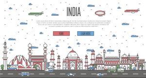 Horizonte indio con las señales famosas nacionales stock de ilustración