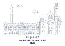 Horizonte linear de la ciudad de Banja Luka, Bosnia y Herzegovina Imagen de archivo