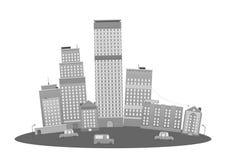 Horizonte moderno de los rascacielos de la ciudad de la metrópoli stock de ilustración