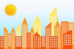 Horizonte moderno de los rascacielos de la ciudad en Sunny Day