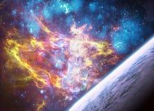 Horizonte multicolor artístico del planeta en ilustraciones de la galaxia de la nebulosa del espacio profundo imagen de archivo libre de regalías